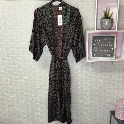 Kimono largo MARRON Y...