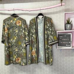 Kimono tropical verde militar