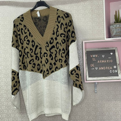 Jersey lana leopardo camel...