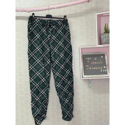 Pantalón cuadros verde...