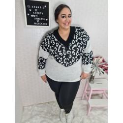 Jersey lana leopardo negro...